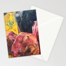 Red Postimpressionism lemonade with pomegranate and yellow flower Stationery Cards