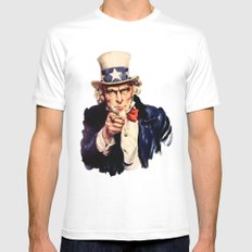 Uncle Sam White MEDIUM Mens Fitted Tee