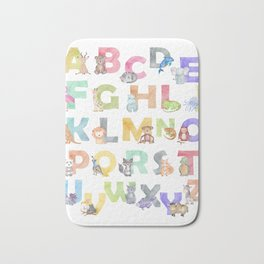 Watercolor Alphabet Animals Bath Mat