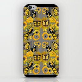 CONTEMPORARY MONARCH BUTTERFLY SUNFLOWERS MONTAGE iPhone Skin