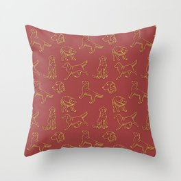 Golden Retriever Pattern (Terracotta Red Background) Throw Pillow