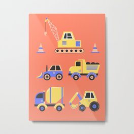 Constructon Trucks on Coral Metal Print