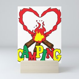 Camping Fire Campers Hiking  Hunting Outdoor Gift  Mini Art Print