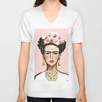 frida kahlo V-neck T-shirts featuring Frida Kahlo by devinepaintings