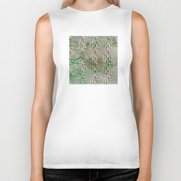 Optical Illusion: Black & White With Green Accents Biker Tank