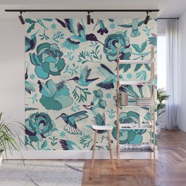 Hummingbird summerdance, Blue Wall Mural