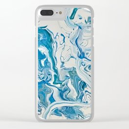 Blue Dolphin Planet Clear iPhone Case