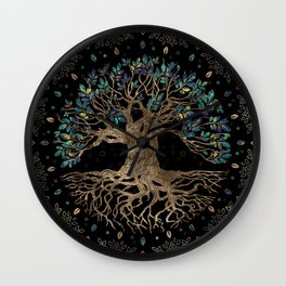 Tree of life -Yggdrasil Golden and Marble ornament Wall Clock