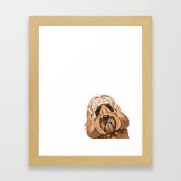 Labradoodle portrait peeking dog portrait cute art gifts for dog breed lovers Framed Art Print
