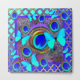 Abstract Blue Butterflies  Peacock Feather Eyes Pattern Art Metal Print