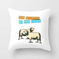 silence of the lambs Throw Pillows featuring The silence of the lambs by Marta Colomer