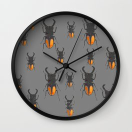 NATURE LOVERS STAG HORNED BEETLES BUG GREY ART M Wall Clock