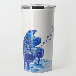 Blue Penguin Playing Blue Grand Piano Travel Mug