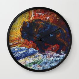 Wild the Storm Bison Painting by OLena Art Wall Clock