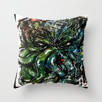 cthulu Throw Pillows featuring Johnny Cthulhu by J.M. Hunter