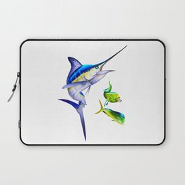 White Marlin Chasing Dolphin Fish Laptop Sleeve