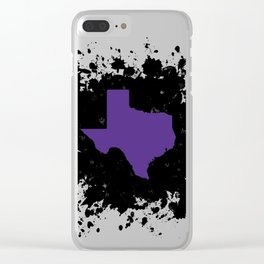Purple State of Texas with Black Ink Splatter Clear iPhone Case