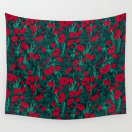 Poppies in the Dark Wall Tapestry