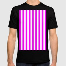 Vertical Stripes (Fuchsia/White) Black Mens Fitted Tee MEDIUM