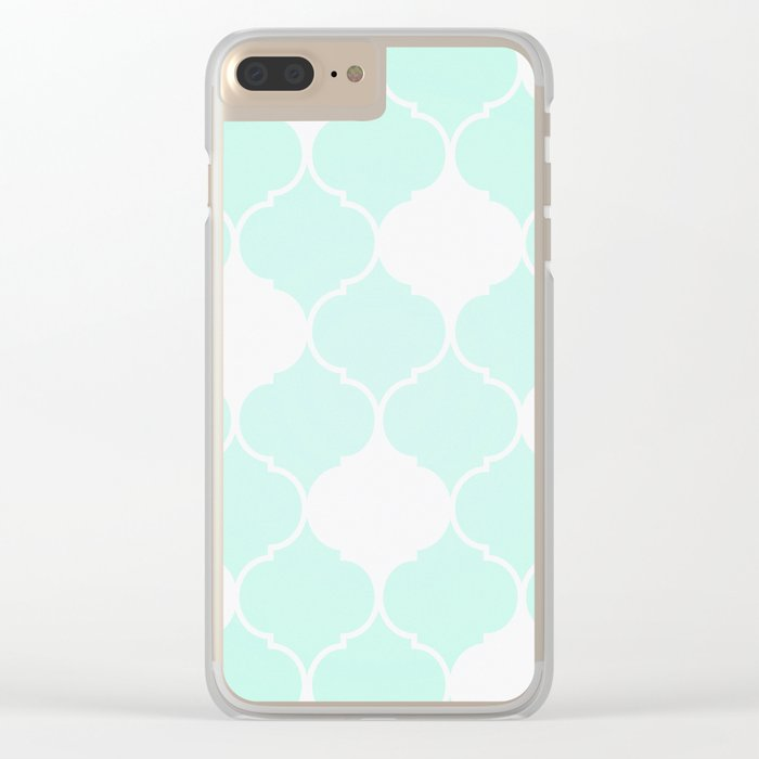 Mint Green Pattern Clear iPhone Case