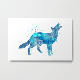 Coyote Watercolor Painting Metal Print