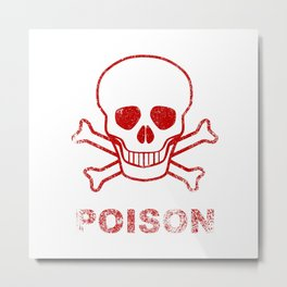 Poison Red Ink Stamp Metal Print