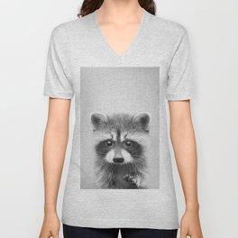 Raccoon - Black & White Unisex V-Neck