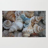 pixies Area & Throw Rugs featuring Sea pixies by Tracey Burgun