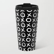 Love XO White and Black Metal Travel Mug
