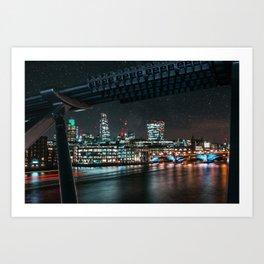 Night London Cityscape View From Millennium Bridge Art Print