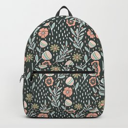 Blush pink and green floral pattern on dark background Backpack