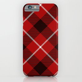 Dark Red Tartan with Diagonal Black and White Stripes iPhone Case