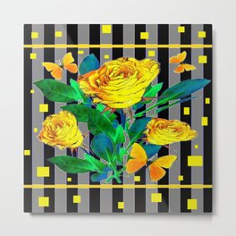 YELLOW SPRING ROSES & BUTTERFLIES WITH YELLOW SQUARES Metal Print