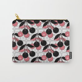 Black and pink pattern . Cherry . Carry-All Pouch