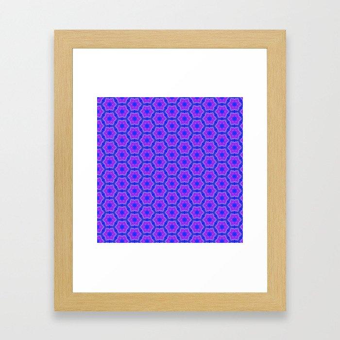 Purple and blue hexagon pattern Framed Art Print