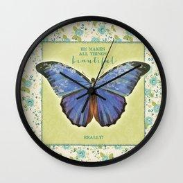 Fly By Faith Butterfly by Terri Conrad Designs Wall Clock