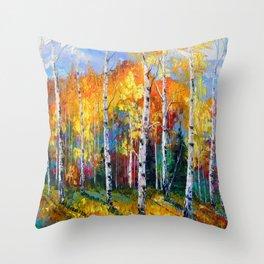 Autumn birches on the edge Throw Pillow