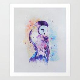 Purple Barn Owl Watercolor Painting Art Print