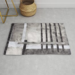 Venetian Blinds in Charcoal, monochrome abstract collage with stripes, black and white, soot, smoky modern art Rug