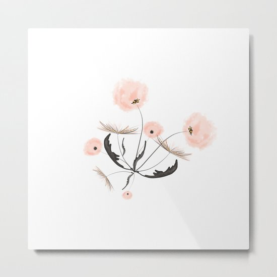 Sweet dandelions in pink - Floral Watercolor illustration with Glitter Metal Print