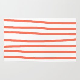 Simply Drawn Stripes in Deep Coral Rug