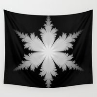 snowflake Wall Tapestries featuring Fractal Snowflake by Objowl