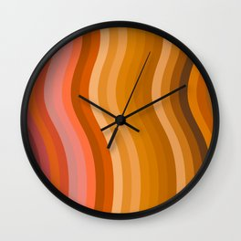 Groovy Wavy Lines in Retro 70s Colors Wall Clock