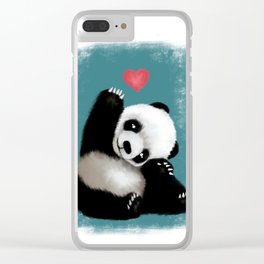 Panda Love (Color) Clear iPhone Case