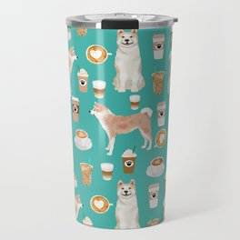 Akita coffee pattern akitas dog breed pet portrait by pet friendly turquoise Travel Mug