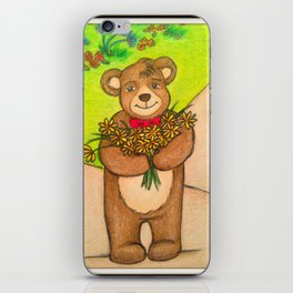 FLOWERS FOR YOU - Adorable Little Teddy Bear Flowers Floral Cute Colorful Original Illustration iPhone Skin