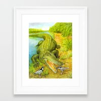 crocodile Framed Art Prints featuring Crocodile by Natalie Berman