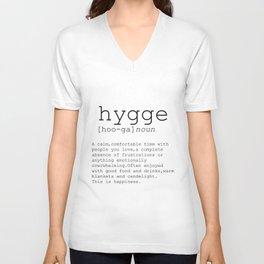 Hygge definition, romantic, dictionary art print, office decor, minimalist poster, funny Unisex V-Neck
