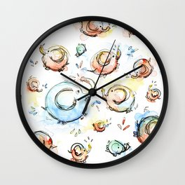 Elephants Pattern Watercolor Whimsical Animals Wall Clock