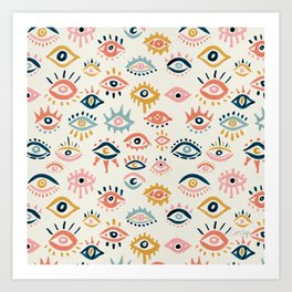 Mystic Eyes – Primary Palette Art Print